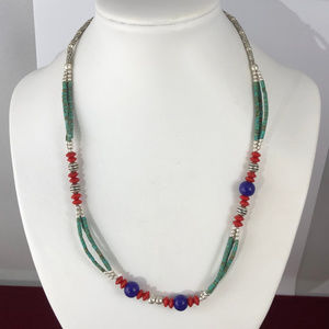 Turquoise Lapis Silver Beads Necklace Summer Time